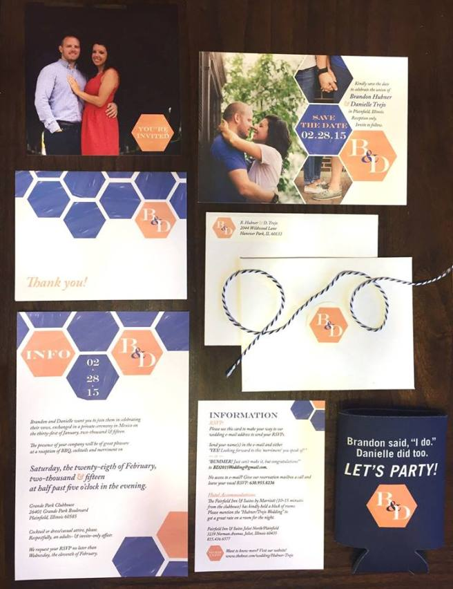 Hexagon Wedding Invitation and Stationary Design